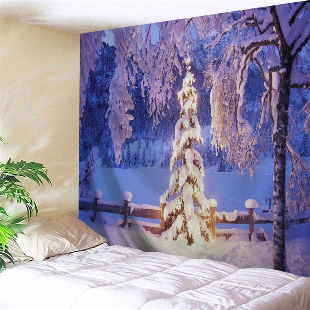 Wall Hanging Christmas Snow World TapestryHOME<br><br>Size: W91 INCH * L71 INCH; Color: VIOLET BLUE; Style: Festival; Theme: Christmas; Material: Polyester; Feature: Removable,Washable; Shape/Pattern: Snow,Tree; Weight: 0.3800kg; Package Contents: 1 x Tapestry;