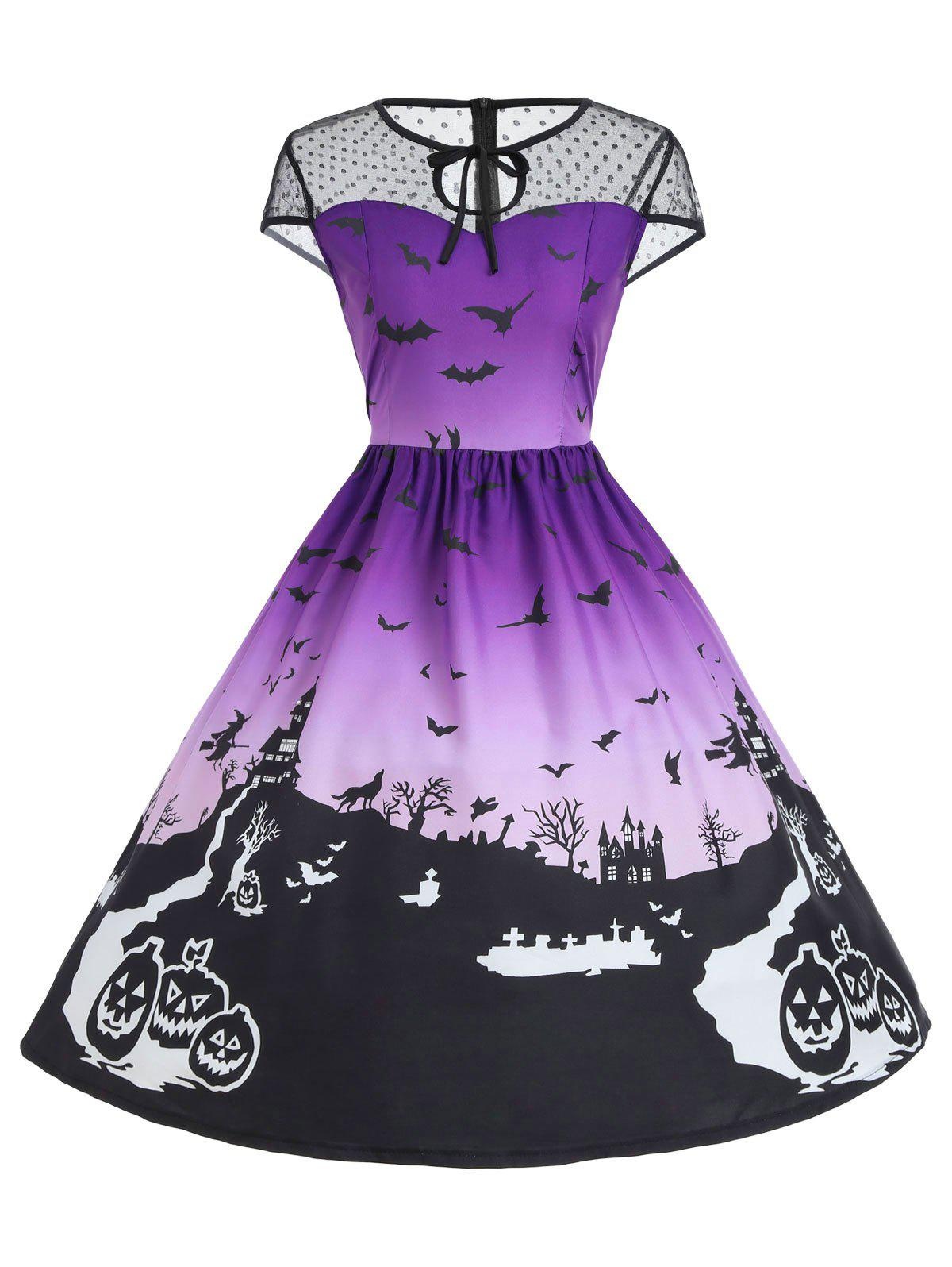 Vintage Mesh Panel Halloween A Line DressWOMEN<br><br>Size: XL; Color: PURPLE; Style: Novelty; Material: Cotton,Polyester; Silhouette: A-Line; Dresses Length: Knee-Length; Neckline: Keyhole Neck; Sleeve Length: Sleeveless; Embellishment: Lace; Pattern Type: Print; With Belt: No; Season: Fall,Spring,Summer; Weight: 0.2500kg; Package Contents: 1 x Dress;