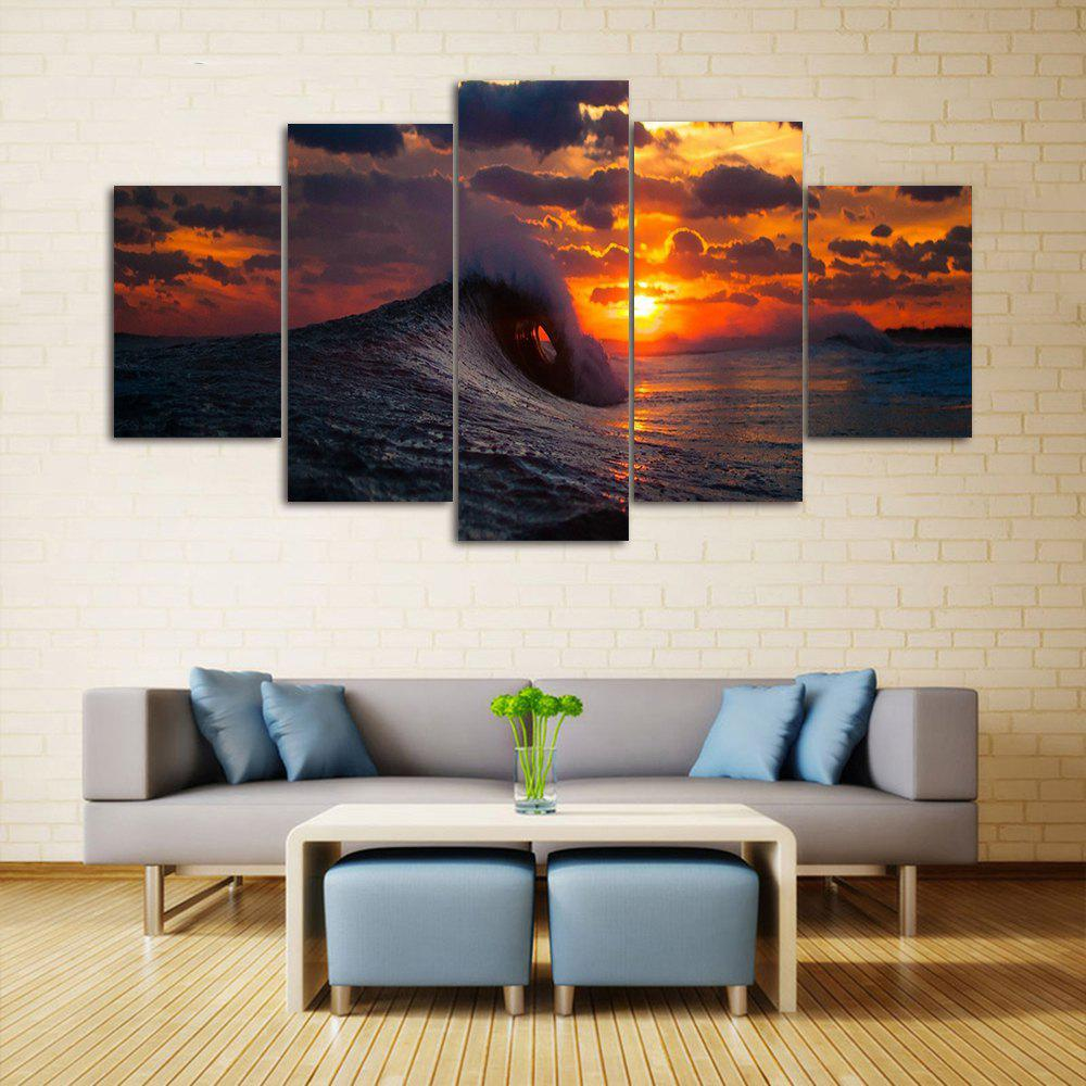 Ocean Wave Sunset Print Unframed Split Canvas Paintings