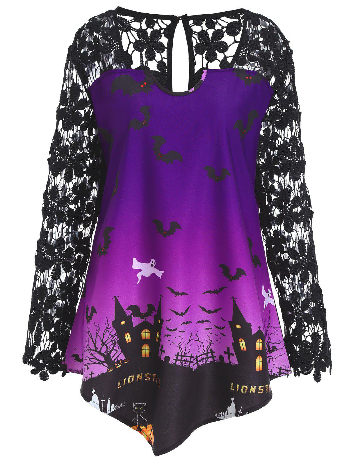 Plus Size Lace Panel Asymmetrical Halloween T-shirtWOMEN<br><br>Size: 5XL; Color: PURPLE; Material: Cotton,Polyester; Shirt Length: Long; Sleeve Length: Full; Collar: Square Neck; Style: Fashion; Season: Fall; Embellishment: Lace; Pattern Type: Print; Weight: 0.2600kg; Package Contents: 1 x T-shirt;