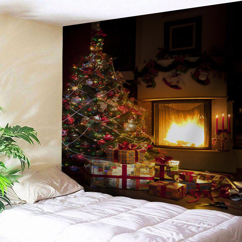 Christmas Tree Fireplace Pattern Wall TapestryHOME<br><br>Size: W79 INCH * L71 INCH; Color: BROWN; Style: Festival; Theme: Christmas; Material: Polyester; Feature: Removable,Washable; Shape/Pattern: Tree; Weight: 0.3000kg; Package Contents: 1 x Tapestry;