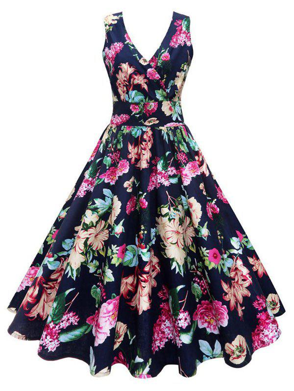 Plus Size Floral Print Vintage Gown DressWOMEN<br><br>Size: 3XL; Color: FLORAL; Style: Vintage; Material: Cotton Blend; Silhouette: Ball Gown; Dresses Length: Mid-Calf; Neckline: V-Neck; Sleeve Length: Sleeveless; Waist: High Waisted; Embellishment: Vintage; Pattern Type: Floral,Print; With Belt: No; Season: Fall,Winter; Weight: 0.3500kg; Package Contents: 1 x Dress;