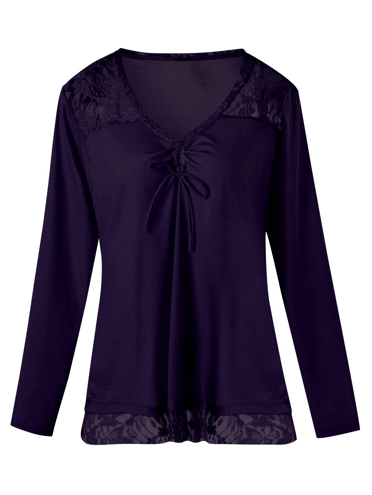 Lace Insert Plus Size V Neck TopWOMEN<br><br>Size: 2XL; Color: DEEP PURPLE; Material: Polyester,Spandex; Shirt Length: Regular; Sleeve Length: Full; Collar: V-Neck; Style: Fashion; Season: Fall,Spring; Pattern Type: Solid; Weight: 0.3000kg; Package Contents: 1 x Top;