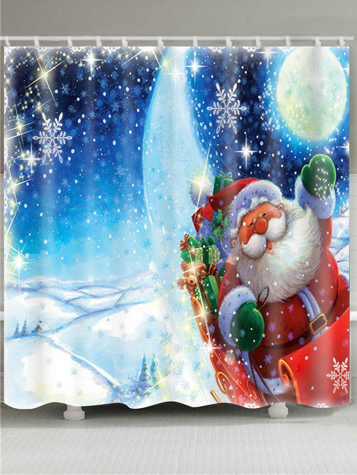 Image of Father Christmas Lighting Printed Waterproof Shower Curtain
