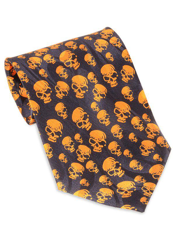 Halloween Full Small Skull Printed Faux Silk NecktieACCESSORIES<br><br>Color: MANDARIN; Type: Neck Tie; Group: Adult; Tie Type: Neck Tie; Style: Fashion; Pattern Type: Skull; Material: Polyester; Width(CM): 10CM; Length(CM): 145CM; Weight: 0.1000kg; Package Contents: 1 x Tie;