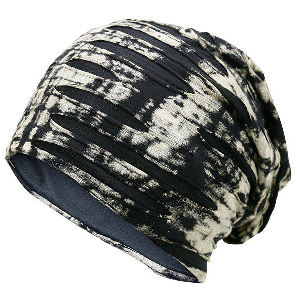 Ink Print Double-Deck Ripped BeanieACCESSORIES<br><br>Color: BEIGE; Hat Type: Skullies Beanie; Group: Adult; Gender: For Men; Style: Fashion; Pattern Type: Print; Material: Polyester; Circumference (CM): 57CM; Weight: 0.1300kg; Package Contents: 1 x Hat;