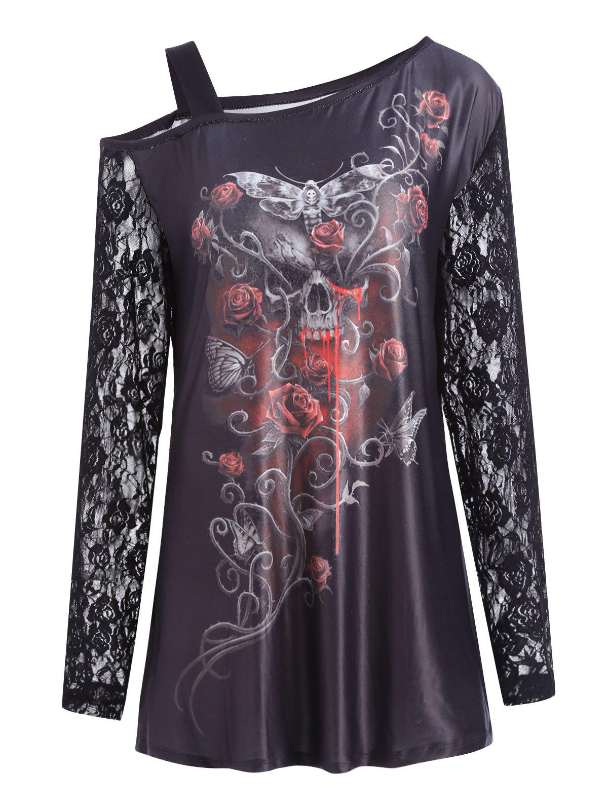 Plus Size Cold Shoulder Halloween Floral Skull T-shirtWOMEN<br><br>Size: 4XL; Color: BLACK; Material: Cotton Blends,Polyester; Shirt Length: Long; Sleeve Length: Full; Collar: Skew Collar; Style: Fashion; Season: Fall,Winter; Embellishment: Hollow Out,Lace,Pattern; Pattern Type: Floral,Print,Skulls; Weight: 0.2300kg; Package Contents: 1 x Tee;