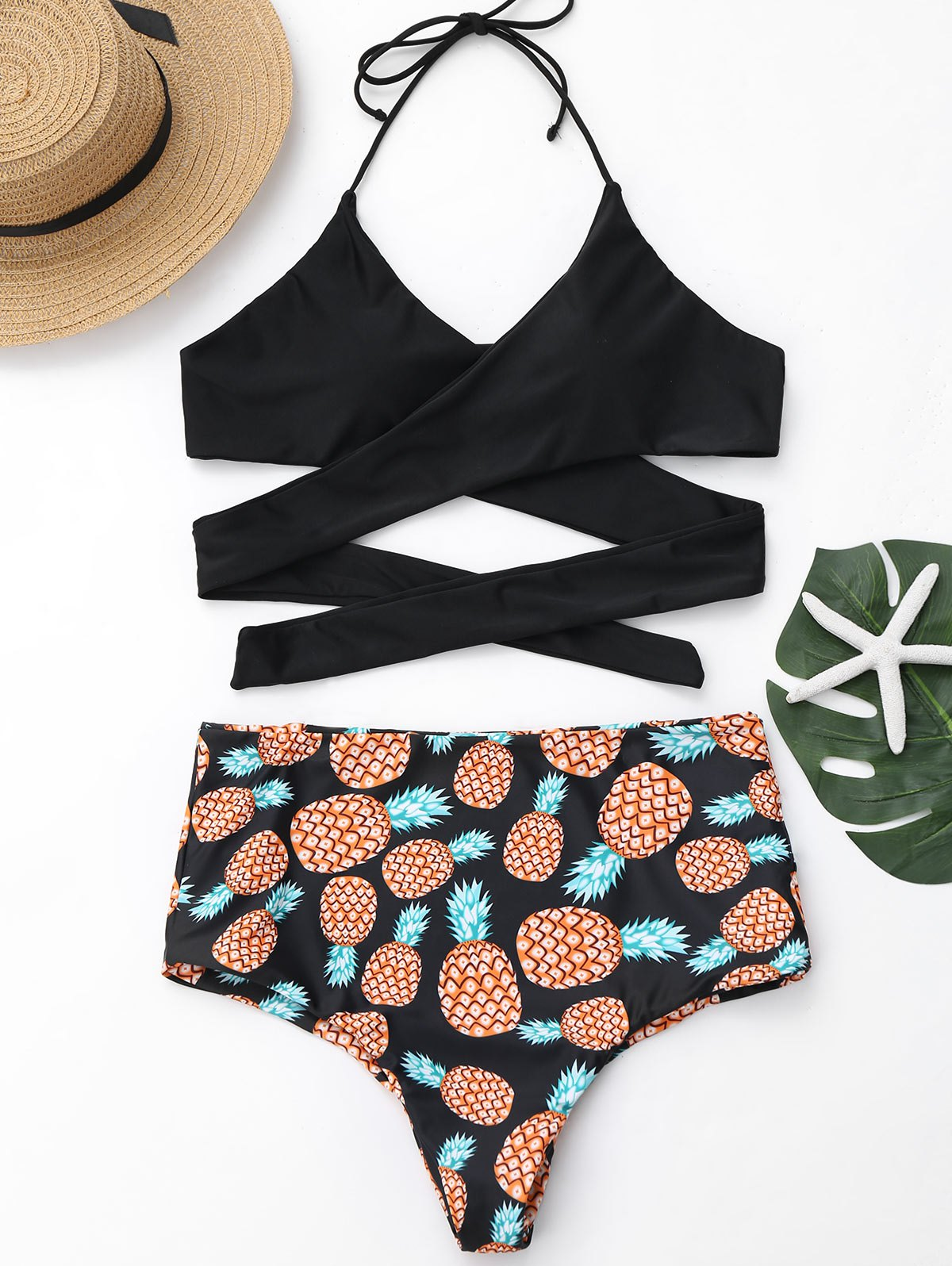 1b9a006af2 27% OFF] Pineapple Print Plus Size Wrap Swimwear | Rosegal