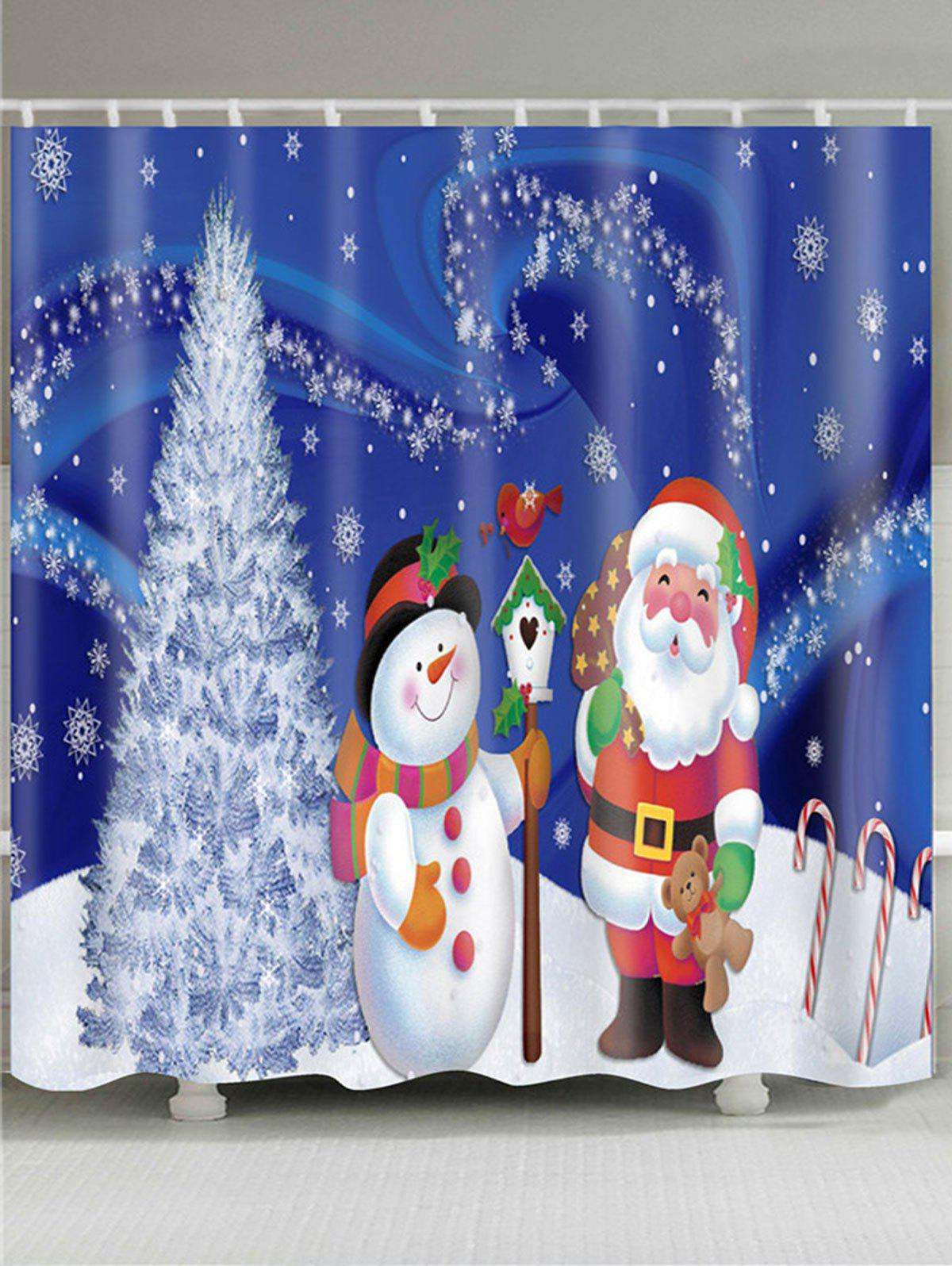 Christmas Tree Snowman Santa Claus Patterned Bath CurtainHOME<br><br>Size: W71 INCH * L71 INCH; Color: COLORFUL; Products Type: Shower Curtains; Materials: Polyester; Pattern: Christmas Tree,Santa Claus,Snowman; Style: Festival; Number of Hook Holes: W59 inch * L71 inch:10, W65 inch * L71 inch:12, W71 inch * L71 inch:12, W71 inch * L79 inch:12, W79 inch * L71 inch:12; Package Contents: 1 x Shower Curtain 1 x Hooks (Set);