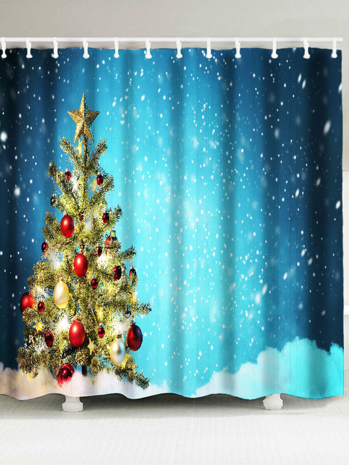 Snow Covering Christmas Tree Patterned Bath CurtainHOME<br><br>Size: W71 INCH * L79 INCH; Color: COLORFUL; Products Type: Shower Curtains; Materials: Polyester; Pattern: Christmas Tree,Snowflake; Style: Festival; Number of Hook Holes: W59 inch * L71 inch:10, W65 inch * L71 inch:12, W71 inch * L71 inch:12, W71 inch * L79 inch:12, W79 inch * L71 inch:12; Package Contents: 1 x Shower Curtain 1 x Hooks (Set);
