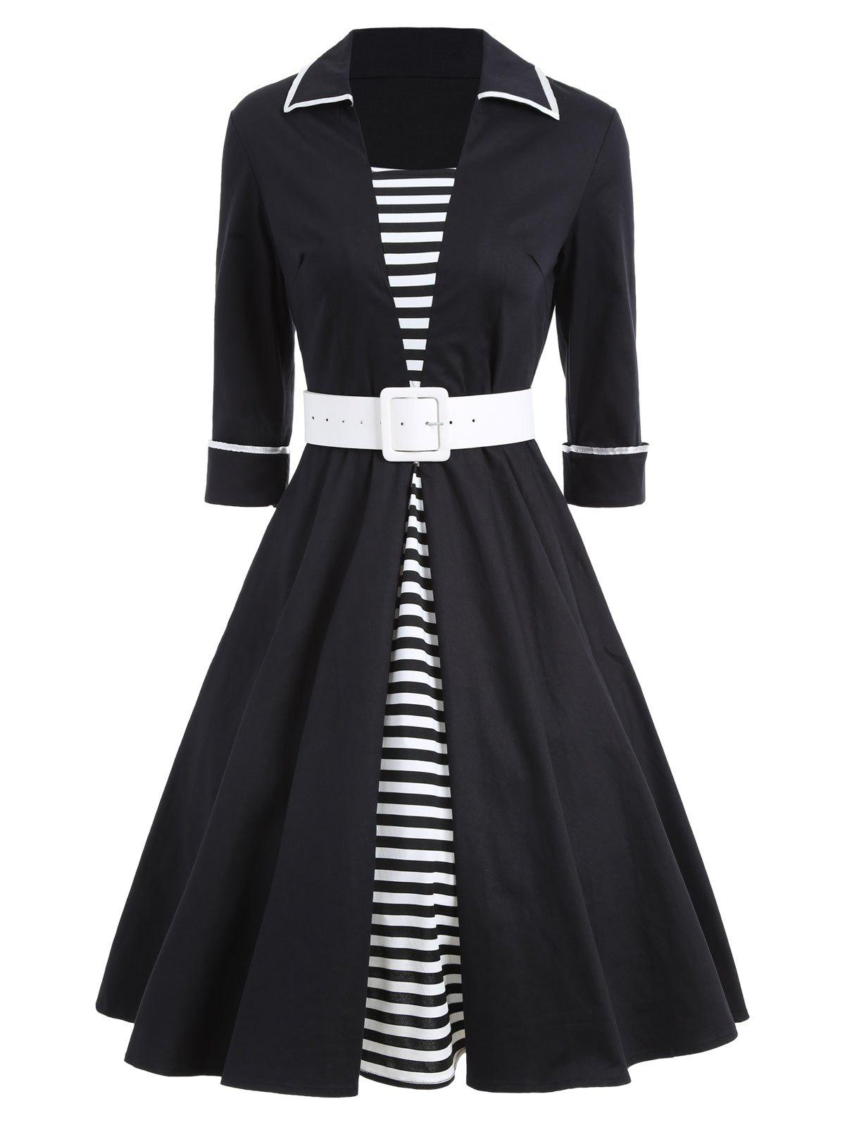 Vintage Stripe Pin Up Skater DressWOMEN<br><br>Size: XL; Color: BLACK; Style: Vintage; Material: Cotton,Polyester; Silhouette: A-Line; Dresses Length: Knee-Length; Neckline: Turn-down Collar; Sleeve Length: 3/4 Length Sleeves; Pattern Type: Striped; With Belt: Yes; Season: Fall,Spring; Weight: 0.5500kg; Package Contents: 1 x Dress  1 x Belt;