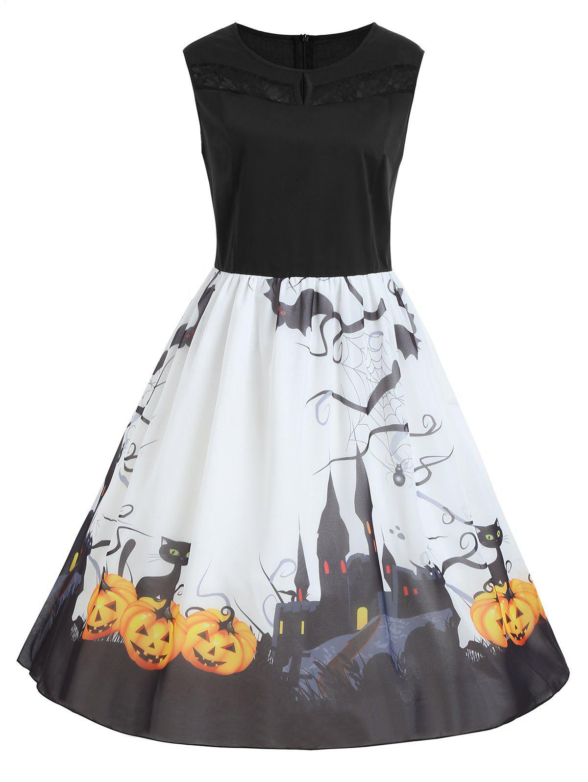 Discount Plus Size Halloween Pumpkin Print Sleeveless Dress