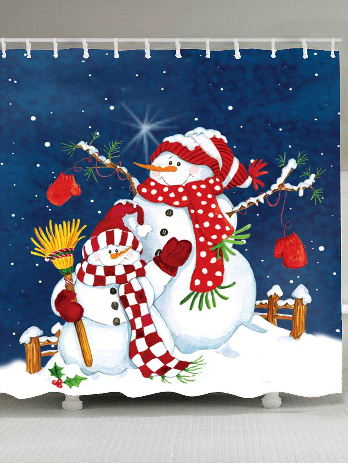 Double Christmas Snowmen Shower CurtainHOME<br><br>Size: W79 INCH * L71 INCH; Color: COLORFUL; Products Type: Shower Curtains; Materials: Polyester; Pattern: Print,Snowflake; Style: Festival; Size: 150 x 180(CM); Number of Hook Holes: W59 inch * L71 inch:10, W65 inch * L71 inch:12, W71 inch * L71 inch:12, W71 inch * L79 inch:12, W79 inch * L71 inch:12; Package Contents: 1 x Shower Curtain 1 x Hooks (Set);