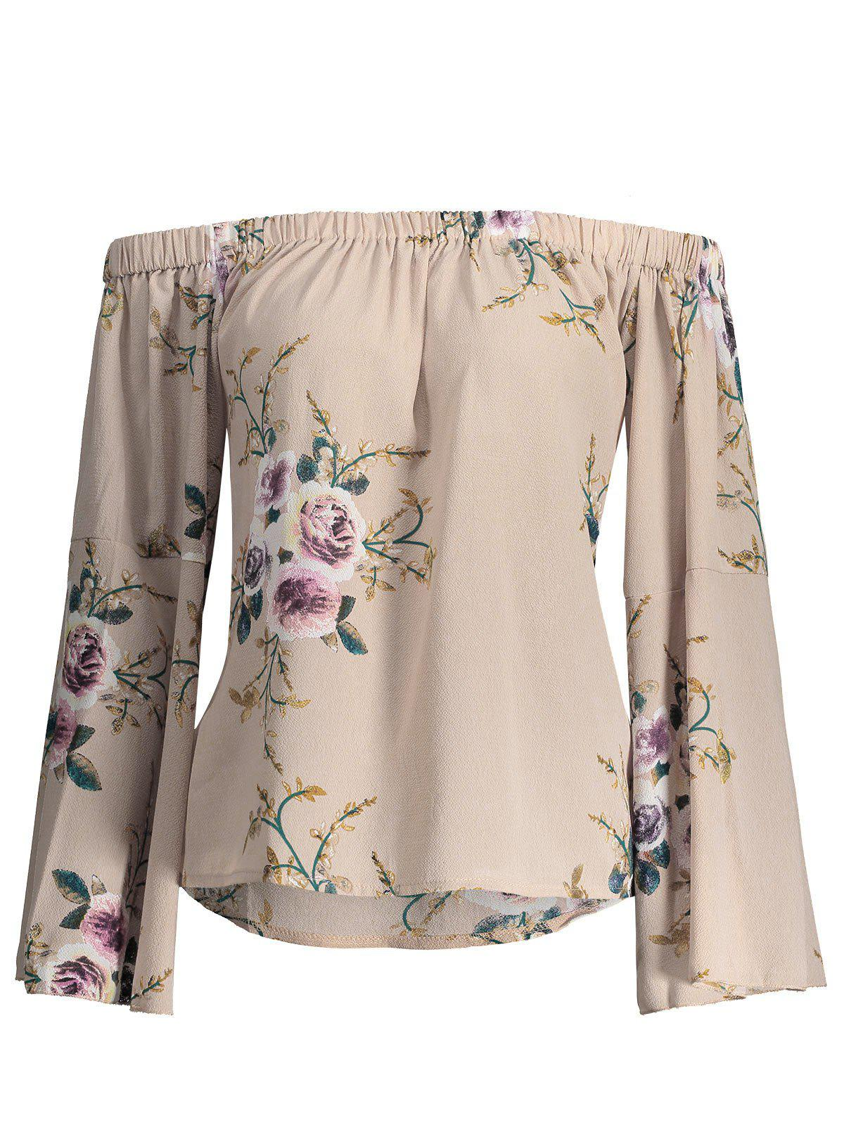 Floral Print Plus Size Off Shoulder BlouseWOMEN<br><br>Size: 4XL; Color: LIGHT BEIGE; Material: Polyester,Spandex; Shirt Length: Regular; Sleeve Length: Full; Collar: Off The Shoulder; Style: Fashion; Season: Fall,Spring; Pattern Type: Floral; Weight: 0.3000kg; Package Contents: 1 x Blouse;