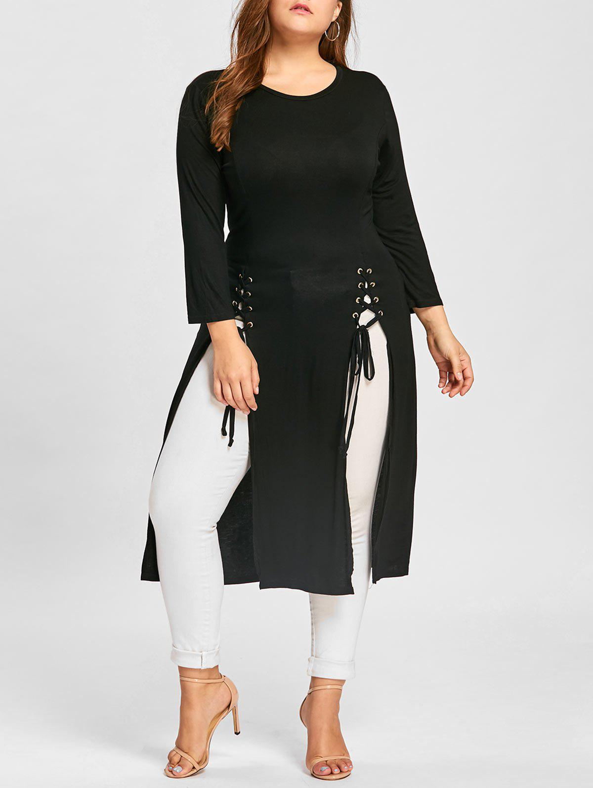 Maxi Lace-up Plus Size Long Sleeve DressWOMEN<br><br>Size: XL; Color: BLACK; Style: Casual; Material: Polyester,Spandex; Silhouette: Straight; Dresses Length: Knee-Length; Neckline: Round Collar; Sleeve Length: Long Sleeves; Pattern Type: Solid; With Belt: No; Season: Fall,Spring; Weight: 0.4200kg; Package Contents: 1 x Dress;