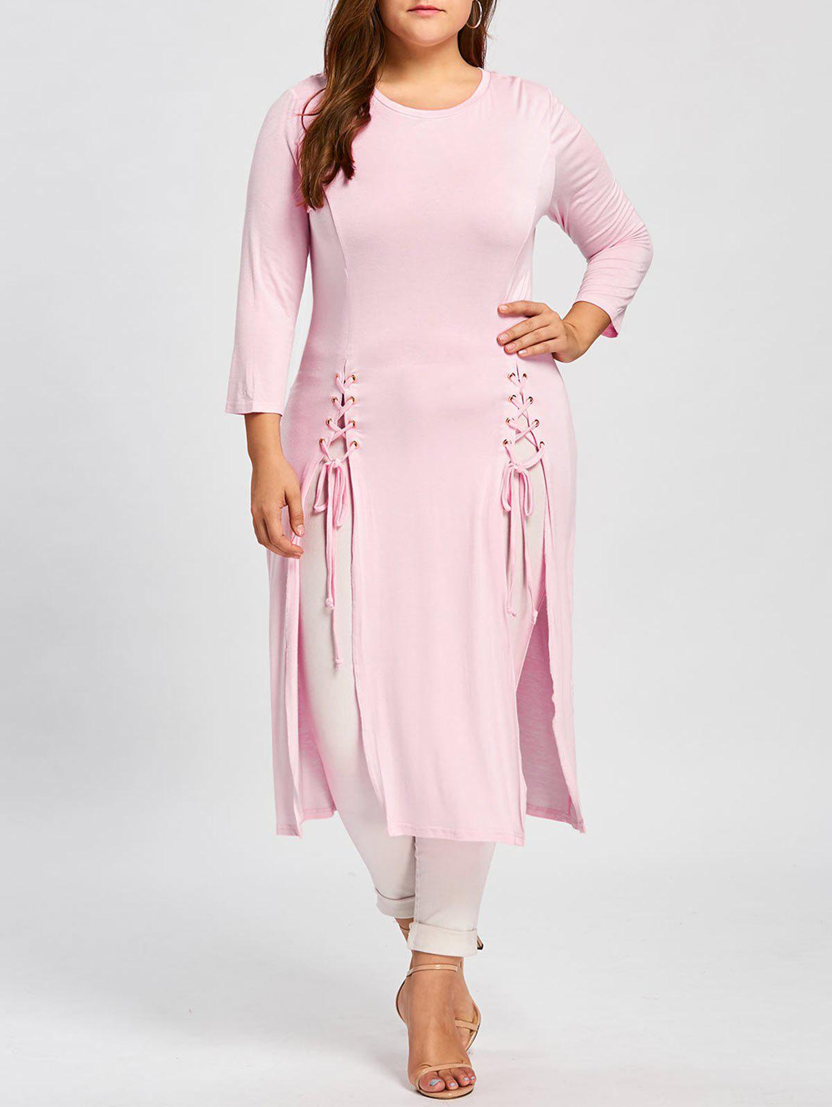Maxi Lace-up Plus Size Long Sleeve DressWOMEN<br><br>Size: 5XL; Color: PINK; Style: Casual; Material: Polyester,Spandex; Silhouette: Straight; Dresses Length: Knee-Length; Neckline: Round Collar; Sleeve Length: Long Sleeves; Pattern Type: Solid; With Belt: No; Season: Fall,Spring; Weight: 0.4200kg; Package Contents: 1 x Dress;