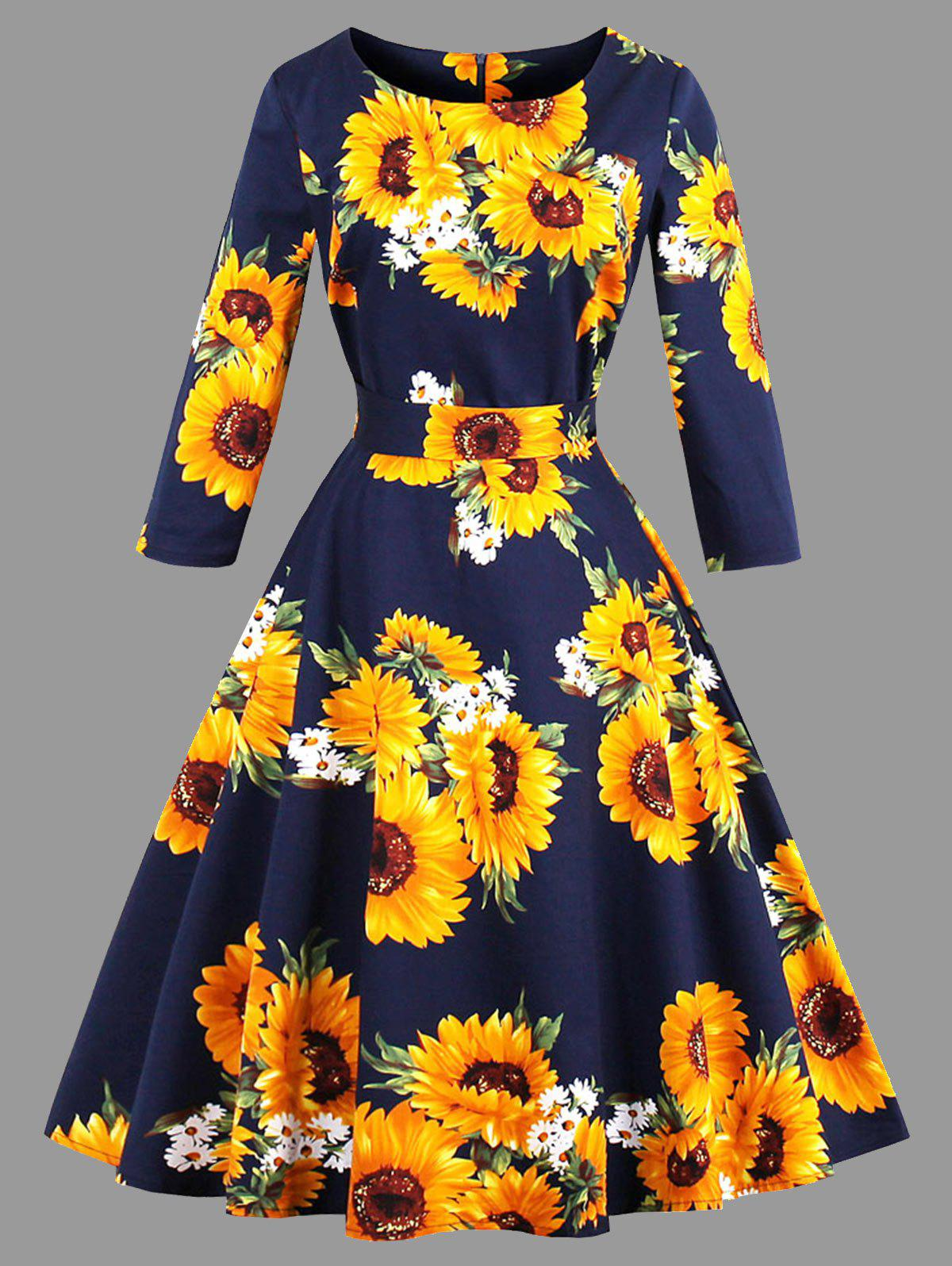 Plus Size Belted Sunflower Print DressWOMEN<br><br>Size: 4XL; Color: PURPLISH BLUE; Style: Vintage; Material: Cotton,Polyester; Silhouette: A-Line; Dresses Length: Knee-Length; Neckline: Round Collar; Sleeve Length: 3/4 Length Sleeves; Pattern Type: Floral; With Belt: Yes; Season: Fall; Weight: 0.4350kg; Package Contents: 1 x Dress  1 x Belt;