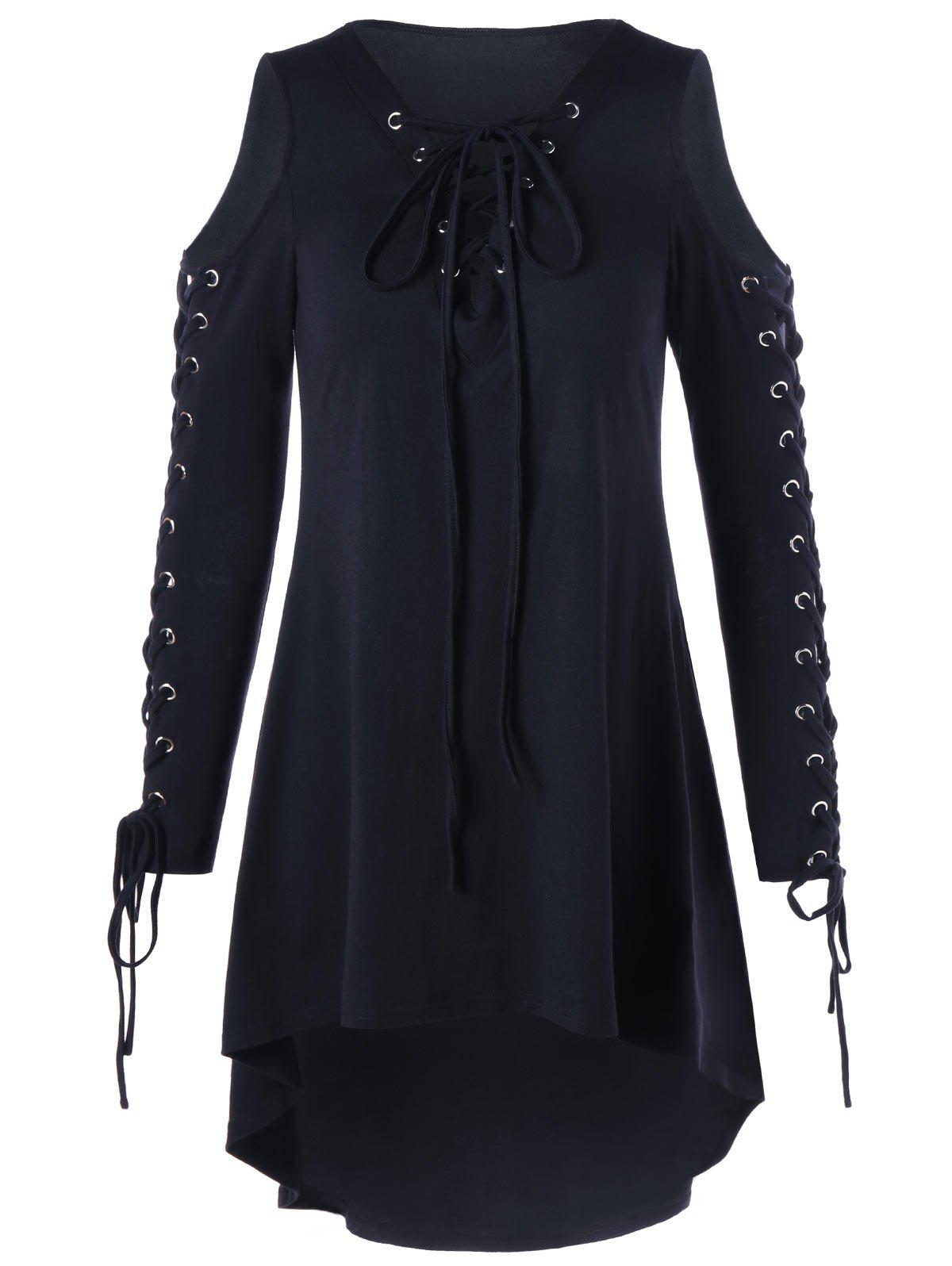 Plus Size Cold Shoulder Lace Up DressWOMEN<br><br>Size: 4XL; Color: BLACK; Style: Brief; Material: Cotton,Spandex; Silhouette: Asymmetrical; Dresses Length: Mid-Calf; Neckline: Plunging Neck; Sleeve Length: Long Sleeves; Pattern Type: Solid Color; With Belt: No; Season: Fall,Spring; Weight: 0.4000kg; Package Contents: 1 x Dress;