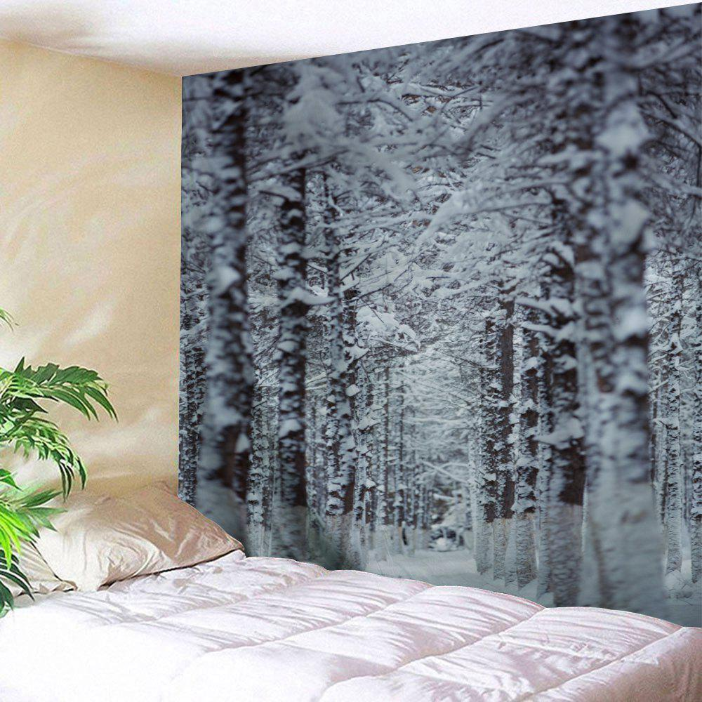 Christmas Snow Forest Path Wall Art TapestryHOME<br><br>Size: W59 INCH * L51 INCH; Color: GREY WHITE; Style: Festival; Theme: Christmas; Material: Polyester; Feature: Removable,Washable; Shape/Pattern: Snow,Tree; Weight: 0.1800kg; Package Contents: 1 x Tapestry;