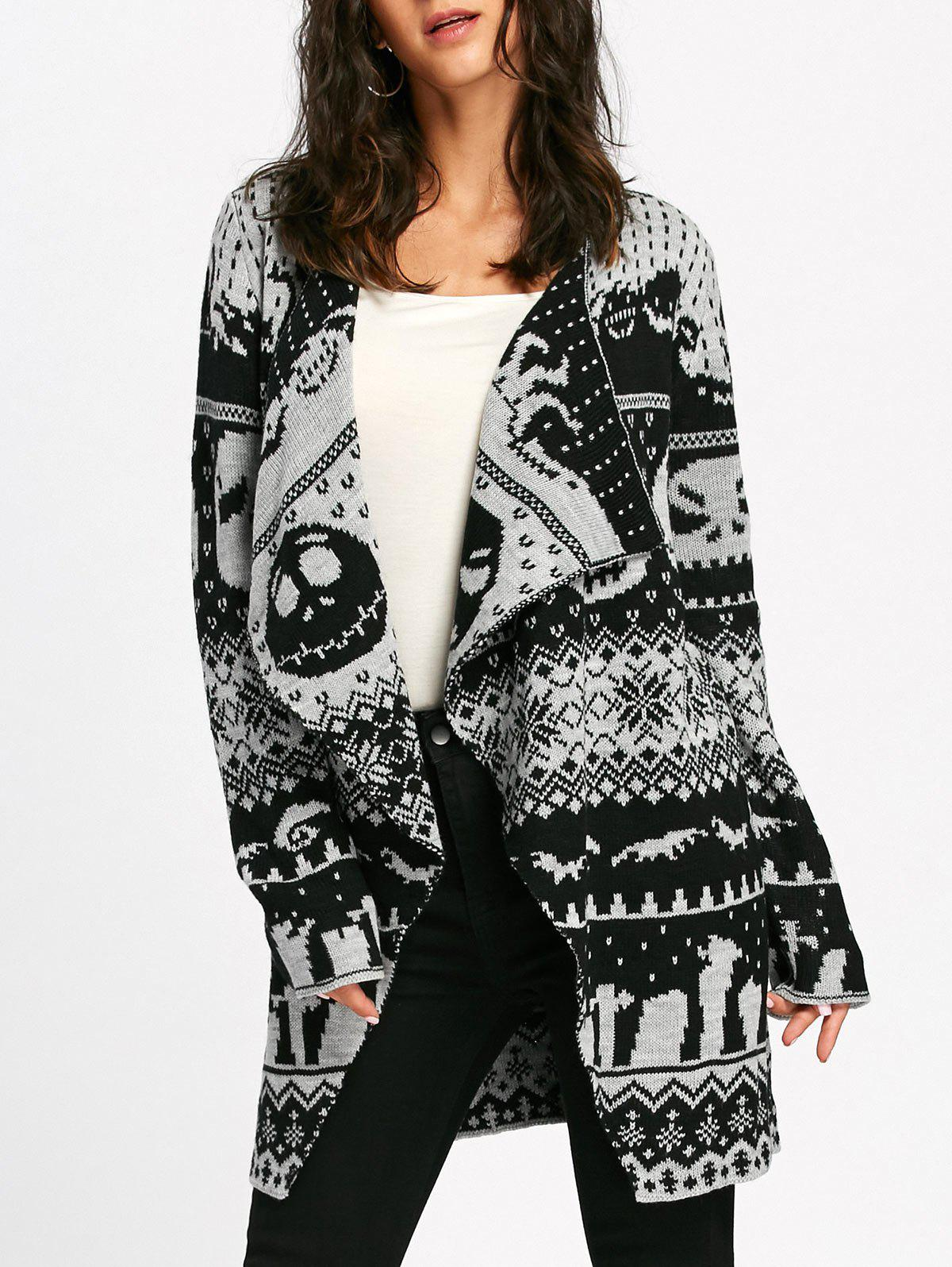 Halloween Skull Knit Tunic CardiganWOMEN<br><br>Size: L; Color: WHITE AND BLACK; Type: Cardigans; Material: Acrylic,Polyester; Sleeve Length: Full; Collar: Collarless; Style: Fashion; Pattern Type: Skulls; Season: Fall,Spring,Winter; Elasticity: Micro-elastic; Weight: 0.6600kg; Package Contents: 1 x Cardigan;