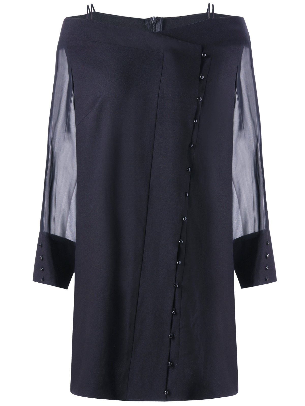 Button Sheer Long Sleeve Plus Size DressWOMEN<br><br>Size: 5XL; Color: BLACK; Style: Brief; Material: Polyester; Silhouette: Straight; Dresses Length: Mini; Neckline: Off The Shoulder; Sleeve Length: Long Sleeves; Embellishment: Button; Pattern Type: Solid; With Belt: No; Season: Fall,Spring,Summer; Weight: 0.2800kg; Package Contents: 1 x Dress;