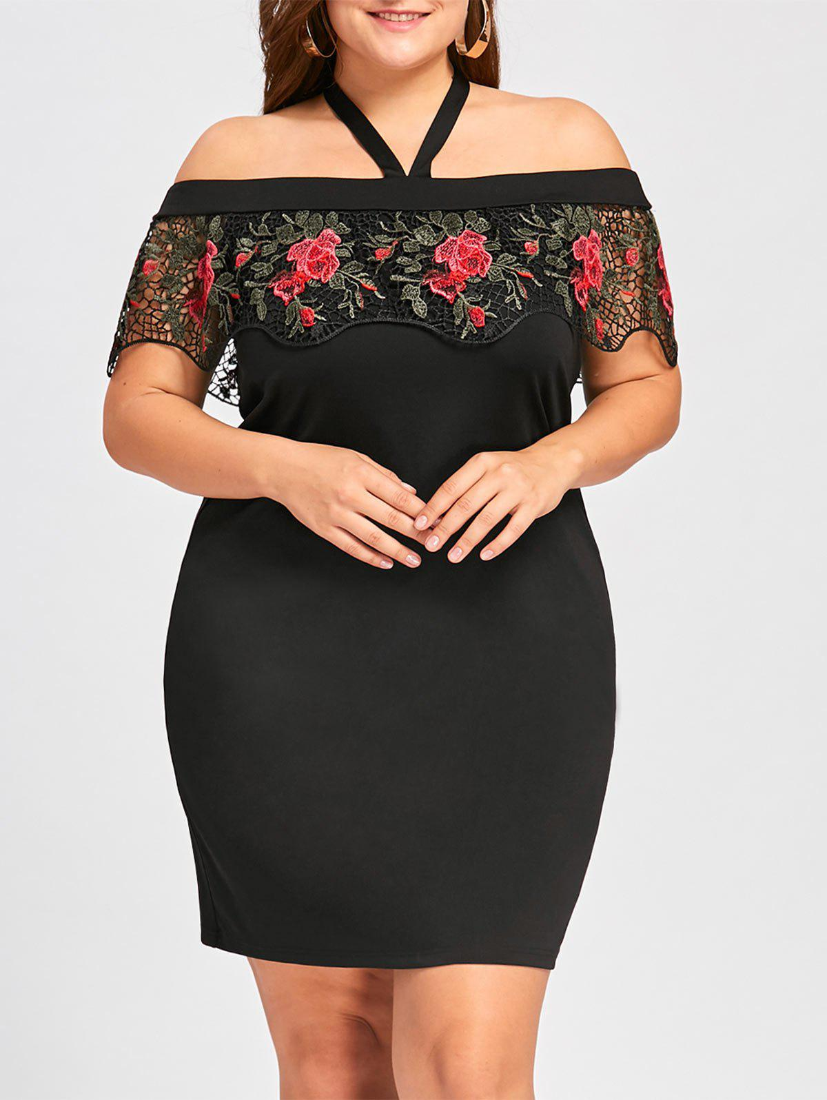 Plus Size Halter Embroidery Mini Tight DressWOMEN<br><br>Size: XL; Color: BLACK; Style: Brief; Material: Polyester,Spandex; Silhouette: Sheath; Dresses Length: Mini; Neckline: Halter; Sleeve Length: Short Sleeves; Embellishment: Embroidery,Lace; Pattern Type: Floral; With Belt: No; Season: Fall,Spring,Summer; Weight: 0.3100kg; Package Contents: 1 x Dress;
