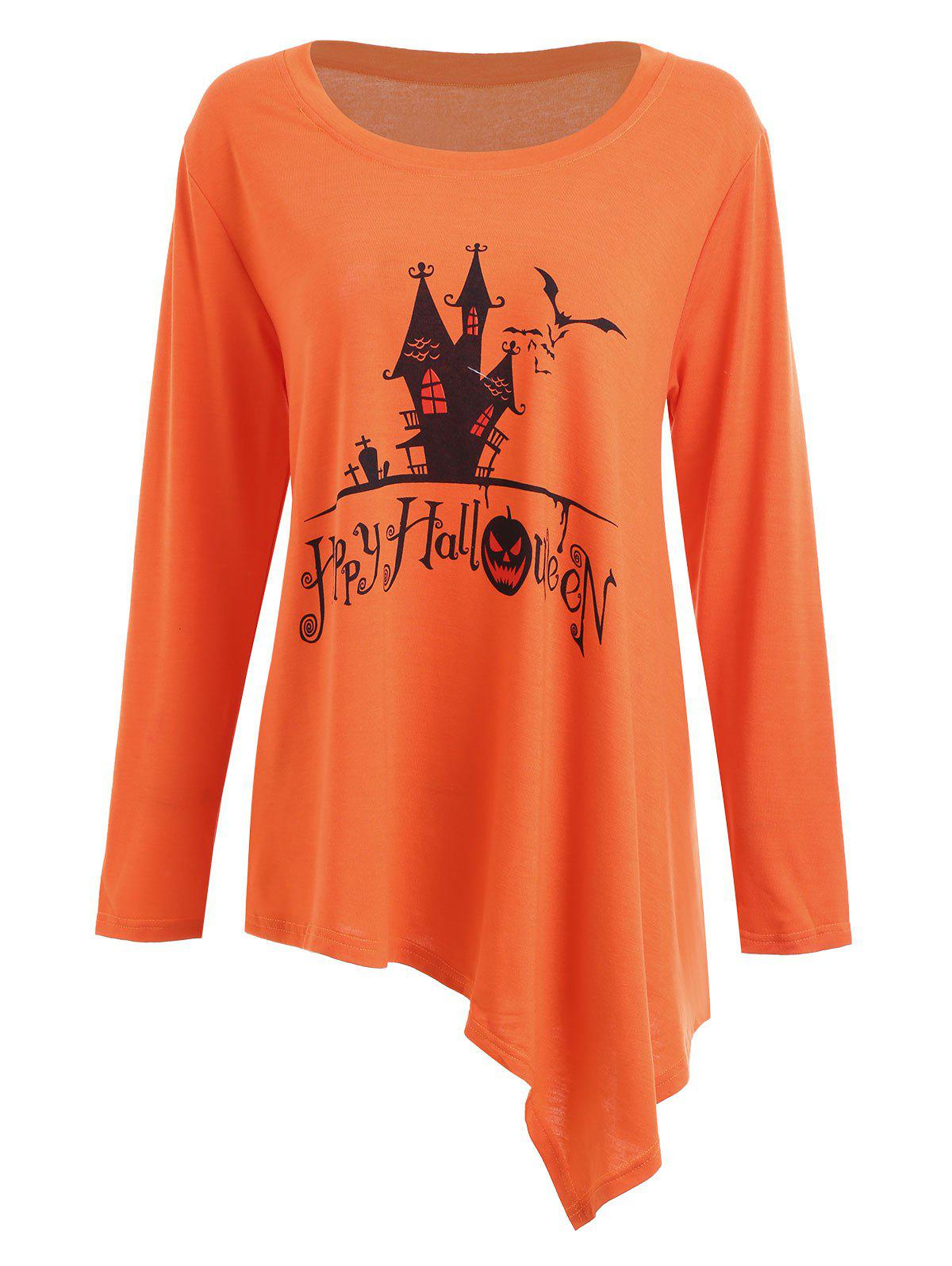 Hot Long Plus Size Happy Halloween Asymmetric T-shirt