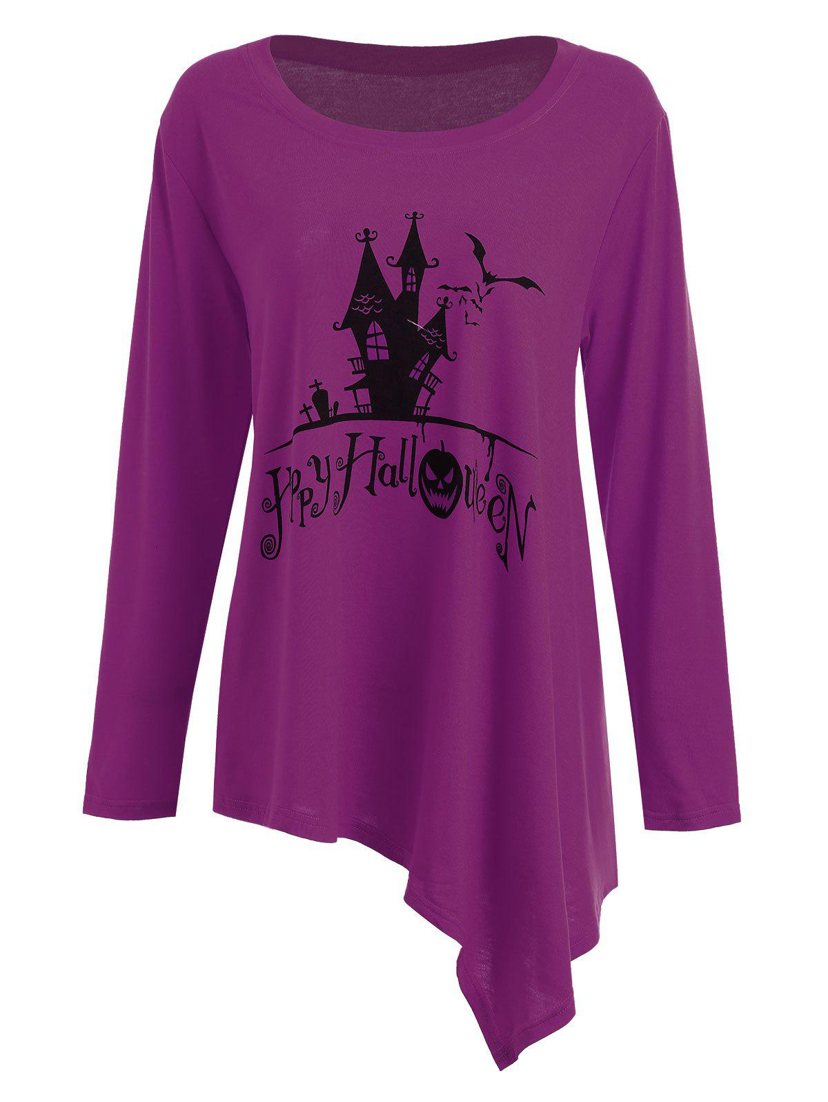 Long Plus Size Happy Halloween Asymmetric T-shirtWOMEN<br><br>Size: 2XL; Color: PURPLE; Material: Cotton Blends,Polyester; Shirt Length: Long; Sleeve Length: Full; Collar: Round Neck; Style: Casual; Season: Fall,Winter; Pattern Type: Animal,Print; Weight: 0.3200kg; Package Contents: 1 x T-shirt;