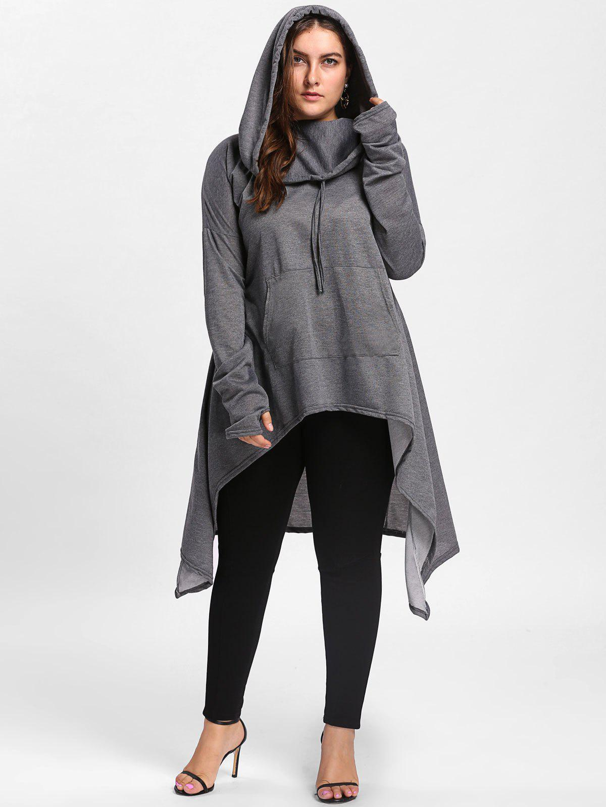 Plus Size Maxi Asymmetric Funnel Collar HoodieWOMEN<br><br>Size: 5XL; Color: DEEP GRAY; Material: Cotton Blend,Polyester; Shirt Length: X-Long; Sleeve Length: Full; Style: Fashion; Pattern Style: Solid; Season: Fall,Winter; Weight: 0.5800kg; Package Contents: 1 x Hoodie;