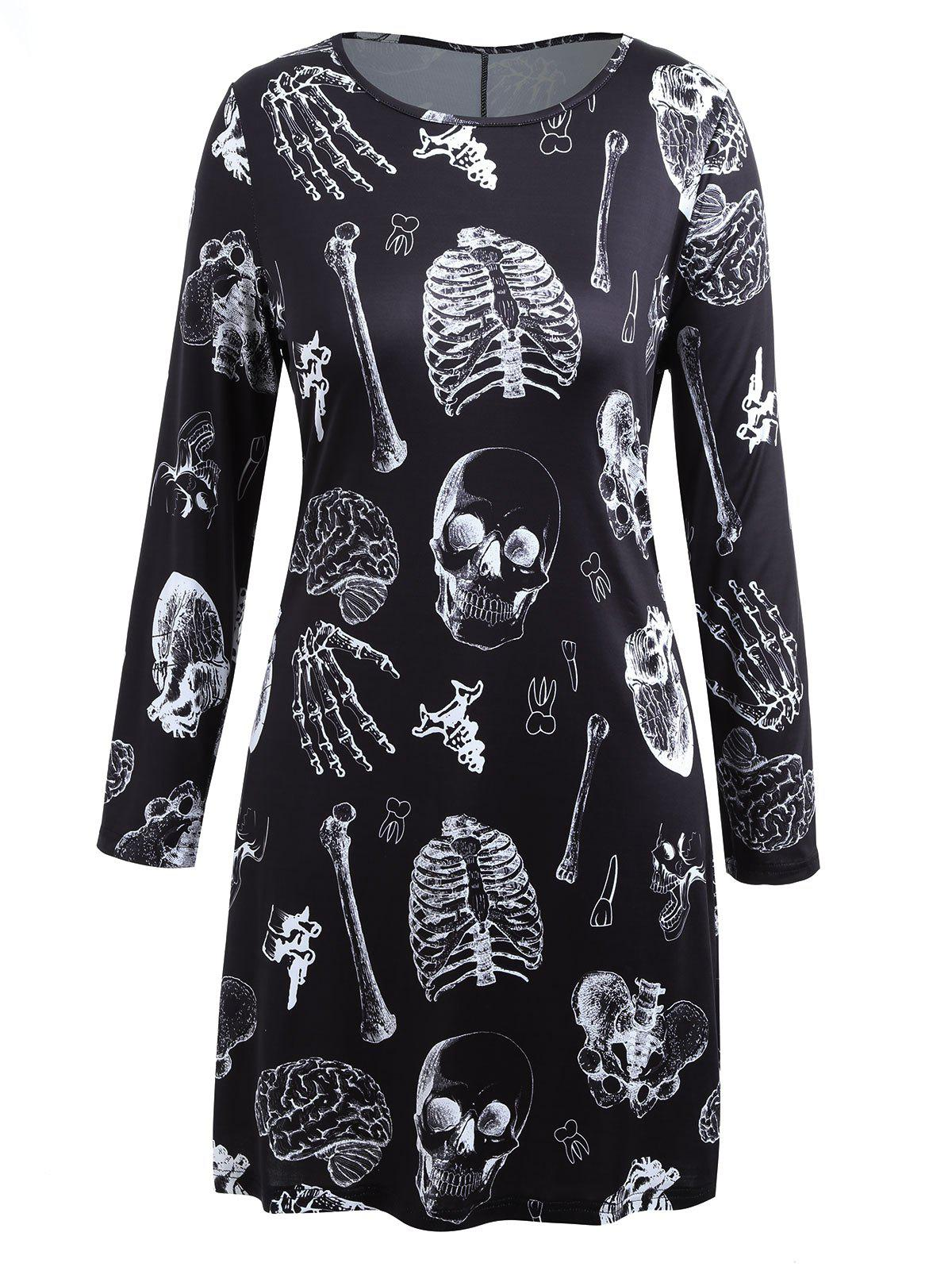Buy Plus Size Long Sleeve Halloween Skeleton T-shirt Dress