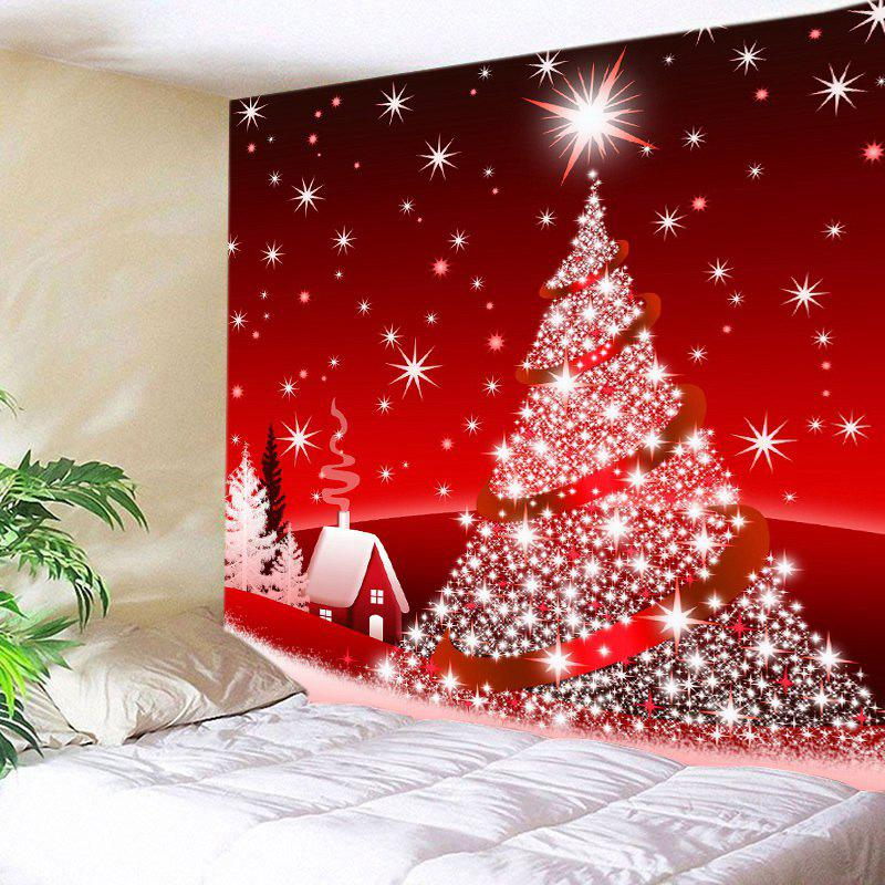 Christmas Tree Star Print Tapestry Wall Hanging Art DecorationHOME<br><br>Size: W91 INCH * L71 INCH; Color: RED; Style: Festival; Theme: Christmas; Material: Polyester; Feature: Washable; Shape/Pattern: Plant,Star; Weight: 0.4000kg; Package Contents: 1 x Tapestry;