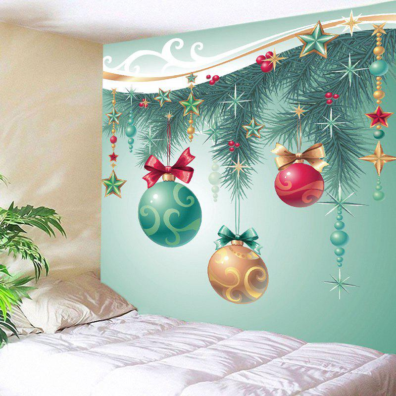 Christmas Baubles Star Print Tapestry Wall Hanging Art DecorationHOME<br><br>Size: W91 INCH * L71 INCH; Color: LIGHT GREEN; Style: Festival; Theme: Christmas; Material: Polyester; Feature: Washable; Shape/Pattern: Ball,Star; Weight: 0.4000kg; Package Contents: 1 x Tapestry;