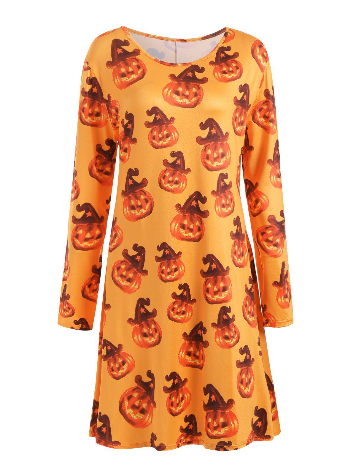 Fashion Plus Size Halloween Pumpkin Long Sleeve T-shirt Dress