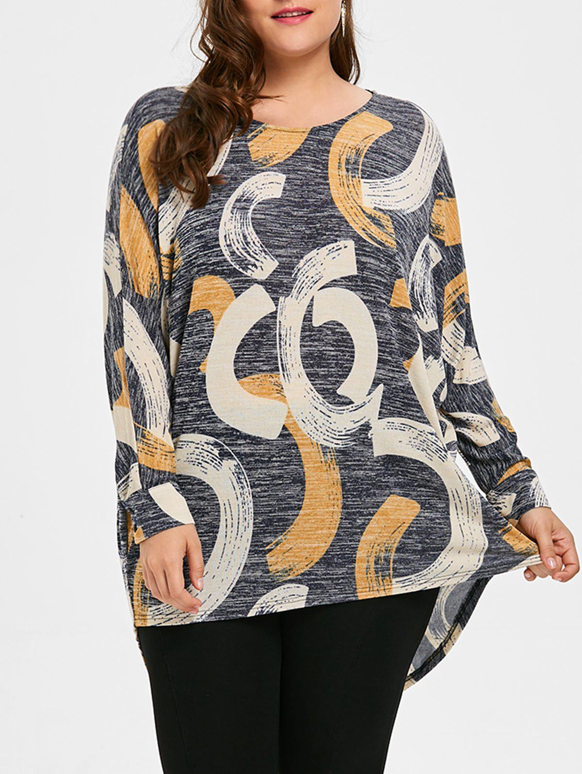 Long Plus Size Print High Low TopWOMEN<br><br>Size: 3XL; Color: GRAY; Material: Cotton Blends,Polyester; Shirt Length: Long; Sleeve Length: Full; Collar: Crew Neck; Style: Casual; Season: Fall,Spring; Pattern Type: Print; Weight: 0.3000kg; Package Contents: 1 x Top;