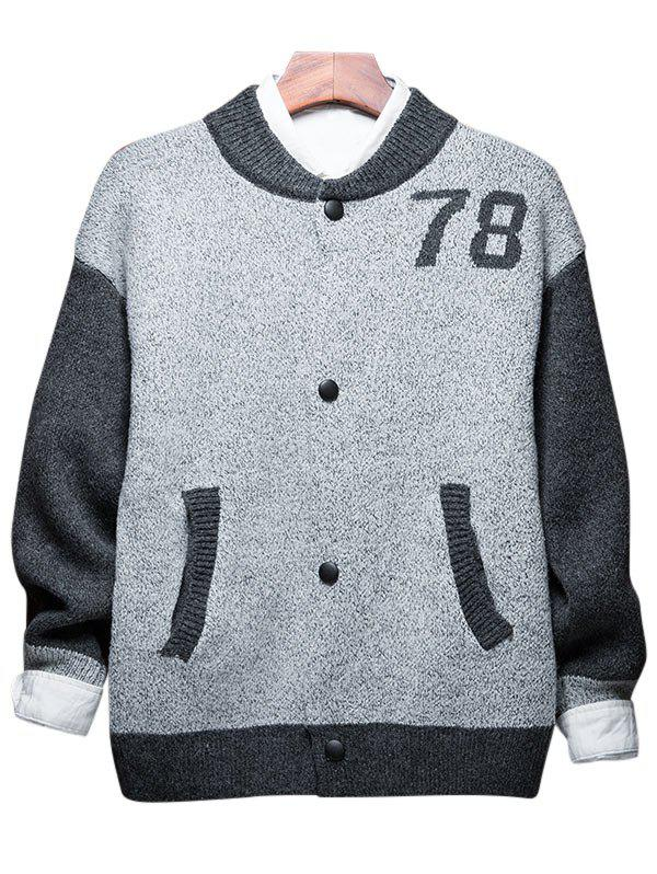 Hot Button Up 78 Graphic Two Tone Cardigan
