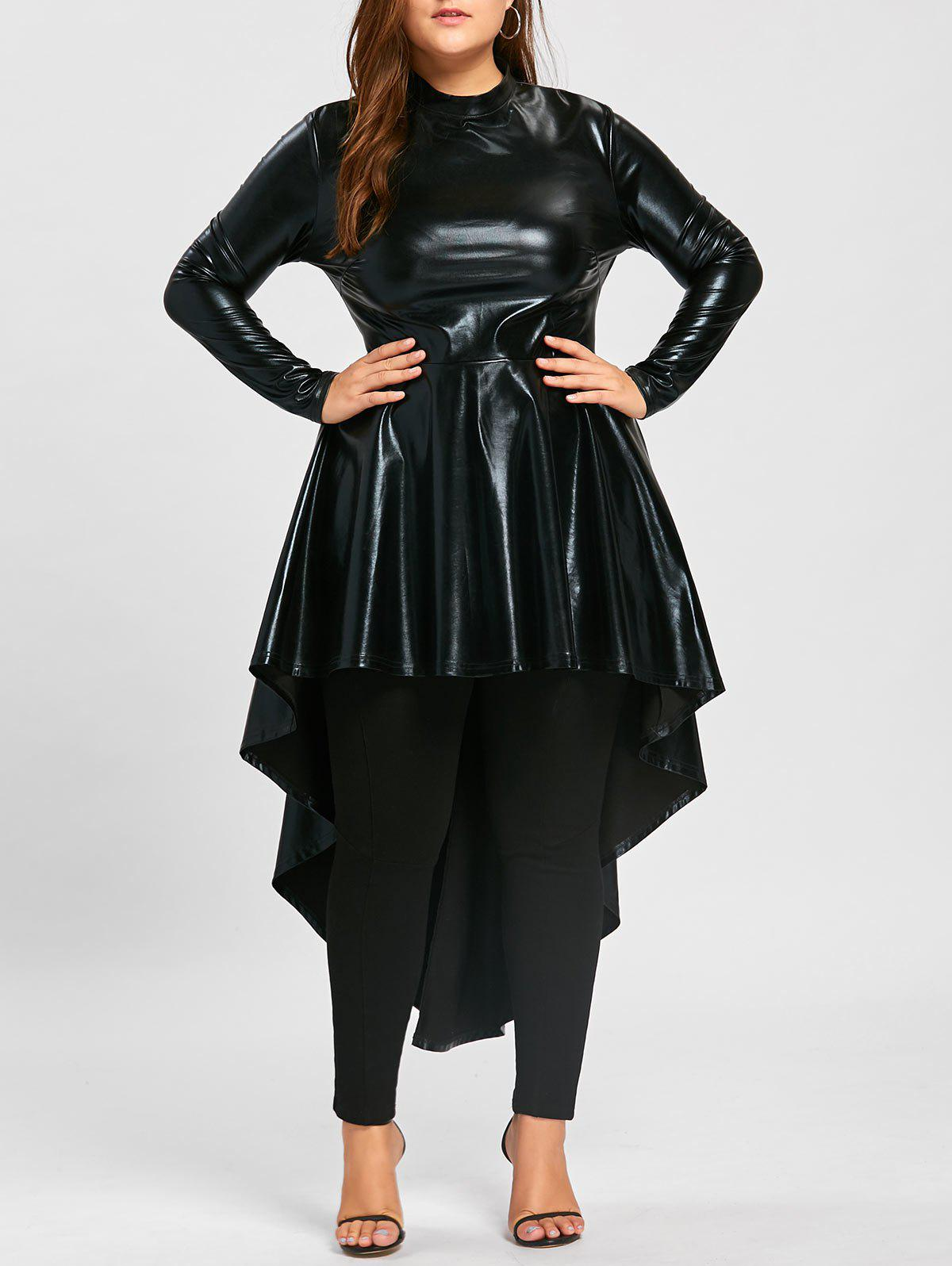 Plus Size PU Leather Long Sleeve High Low T-shirtWOMEN<br><br>Size: 5XL; Color: BLACK; Material: Faux Leather; Shirt Length: Long; Sleeve Length: Full; Collar: Mock Neck; Style: Fashion; Season: Fall,Spring; Pattern Type: Solid; Weight: 0.4300kg; Package Contents: 1 x T-shirt;