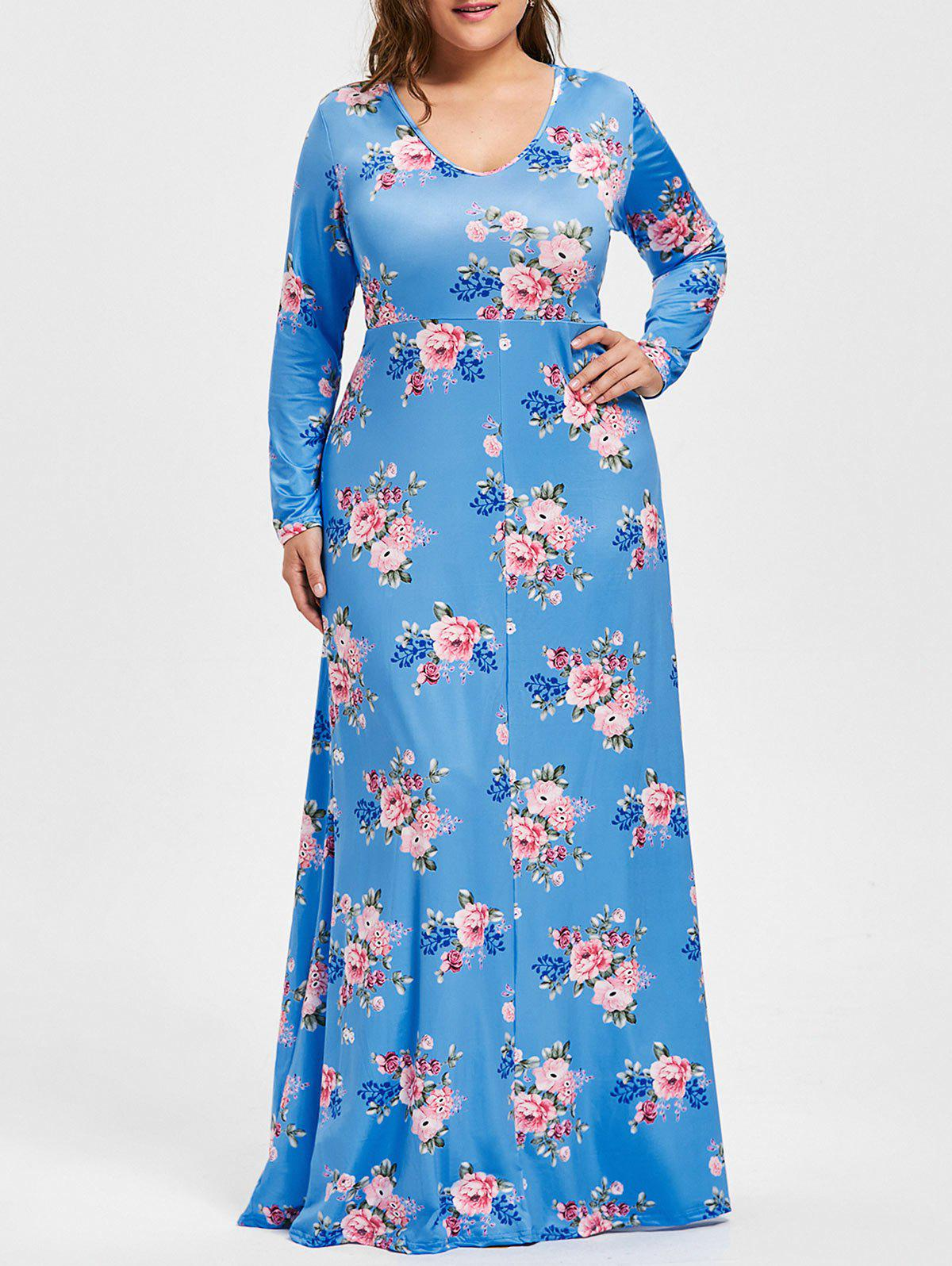 Plus Size Floral Print V Neck Maxi DressWOMEN<br><br>Size: 5XL; Color: AZURE; Style: Casual; Material: Cotton,Polyester; Silhouette: A-Line; Dresses Length: Floor-Length; Neckline: V-Neck; Sleeve Length: Long Sleeves; Pattern Type: Floral; With Belt: No; Season: Fall; Weight: 0.4900kg; Package Contents: 1 x Dress;
