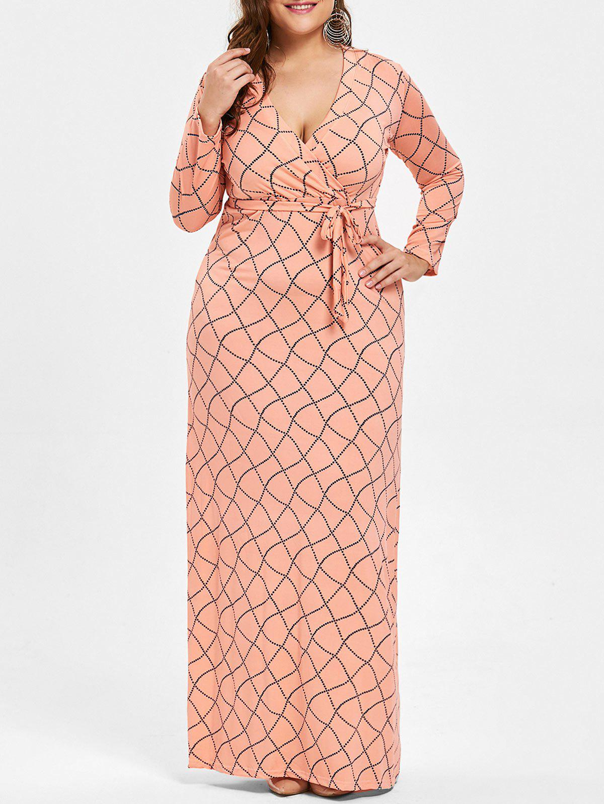 Plus Size Belted Surplice Geometric Maxi DressWOMEN<br><br>Size: 4XL; Color: MELON YELLOW; Style: Casual; Material: Cotton,Polyester; Silhouette: A-Line; Dresses Length: Floor-Length; Neckline: Plunging Neck; Sleeve Length: Long Sleeves; Pattern Type: Geometric; With Belt: Yes; Season: Fall; Weight: 0.3900kg; Package Contents: 1 x Dress 1 x Belt;