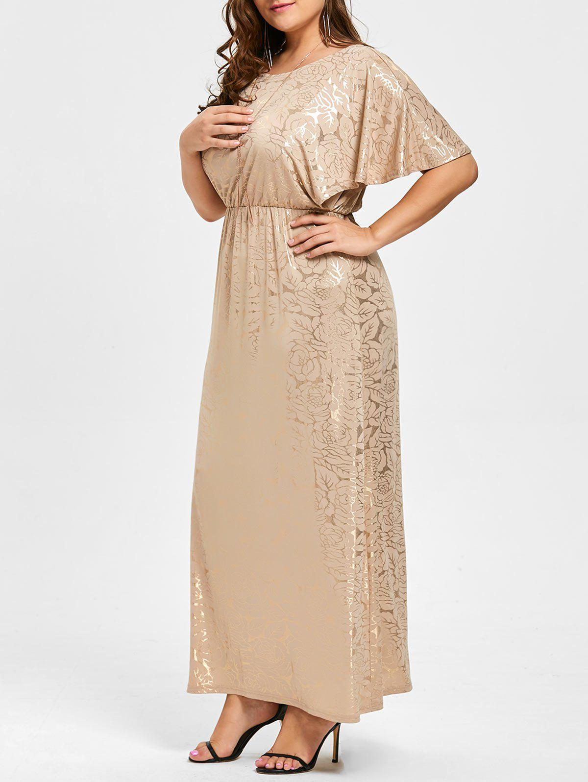 Long Bronze Plus Size Flutter Sleeve DressWOMEN<br><br>Size: 3XL; Color: GOLDEN; Style: Cute; Material: Polyester,Spandex; Silhouette: Straight; Dresses Length: Floor-Length; Neckline: Round Collar; Sleeve Length: Short Sleeves; Pattern Type: Print; With Belt: No; Season: Fall,Spring,Summer; Weight: 0.5350kg; Package Contents: 1 x Dress;