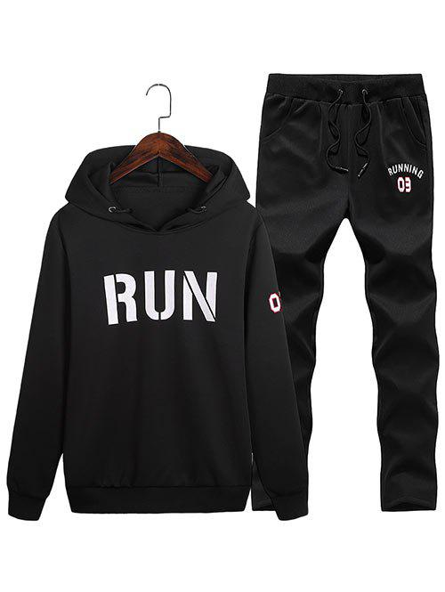 Best Run Print Pullover Hoodie with Sweatpants