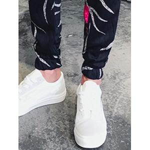 Leaves and Patches Embossing Jogger Pants - COLORMIX L
