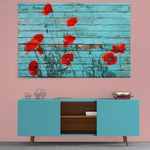 Flower Wood Grain Print Canvas Wall Art Painting - BLUE 1PC:24*39 INCH( NO FRAME )
