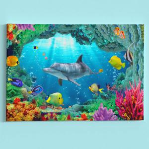 Sea World Dolphin Print Wall Art Canvas Painting - BLUE 1PC:24*39 INCH( NO FRAME )