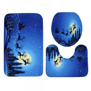 Ensemble de tapis de toilette 3Pcs Christmas Sled Moon -