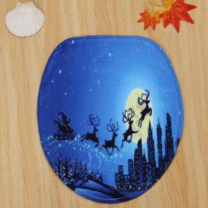 3Pcs Christmas Sled Moon Toilet Bath Rugs Set -