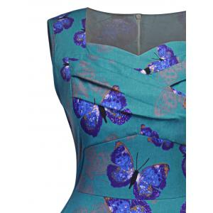 Vintage Ruched Butterfly Print Pin Up Dress - BLUE GREEN S