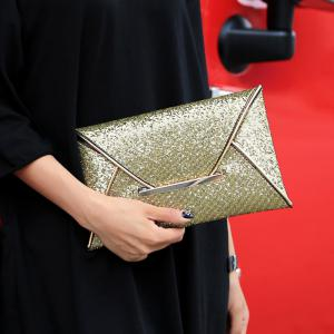 Envelope Glitter Metal Clutch Bag -