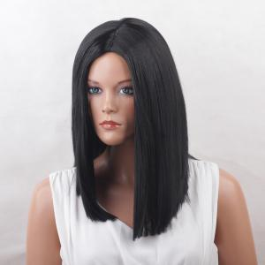 Center Parting Blunt Medium Straight Synthetic Wig - BLACK
