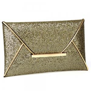 Envelope Glitter Metal Clutch Bag - GOLDEN