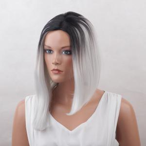 Medium Center Parting Straight Asymmetric Bob Colormix Synthetic Wig -